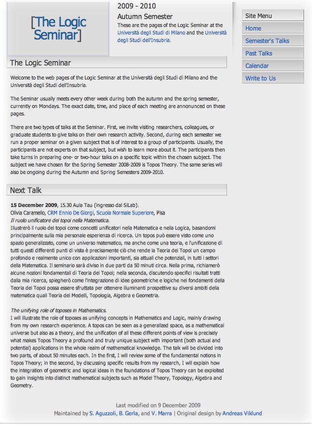 The Logic Seminar's web site snapshot